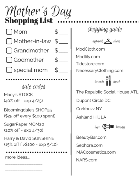 Mother's Day Shopping List (2)